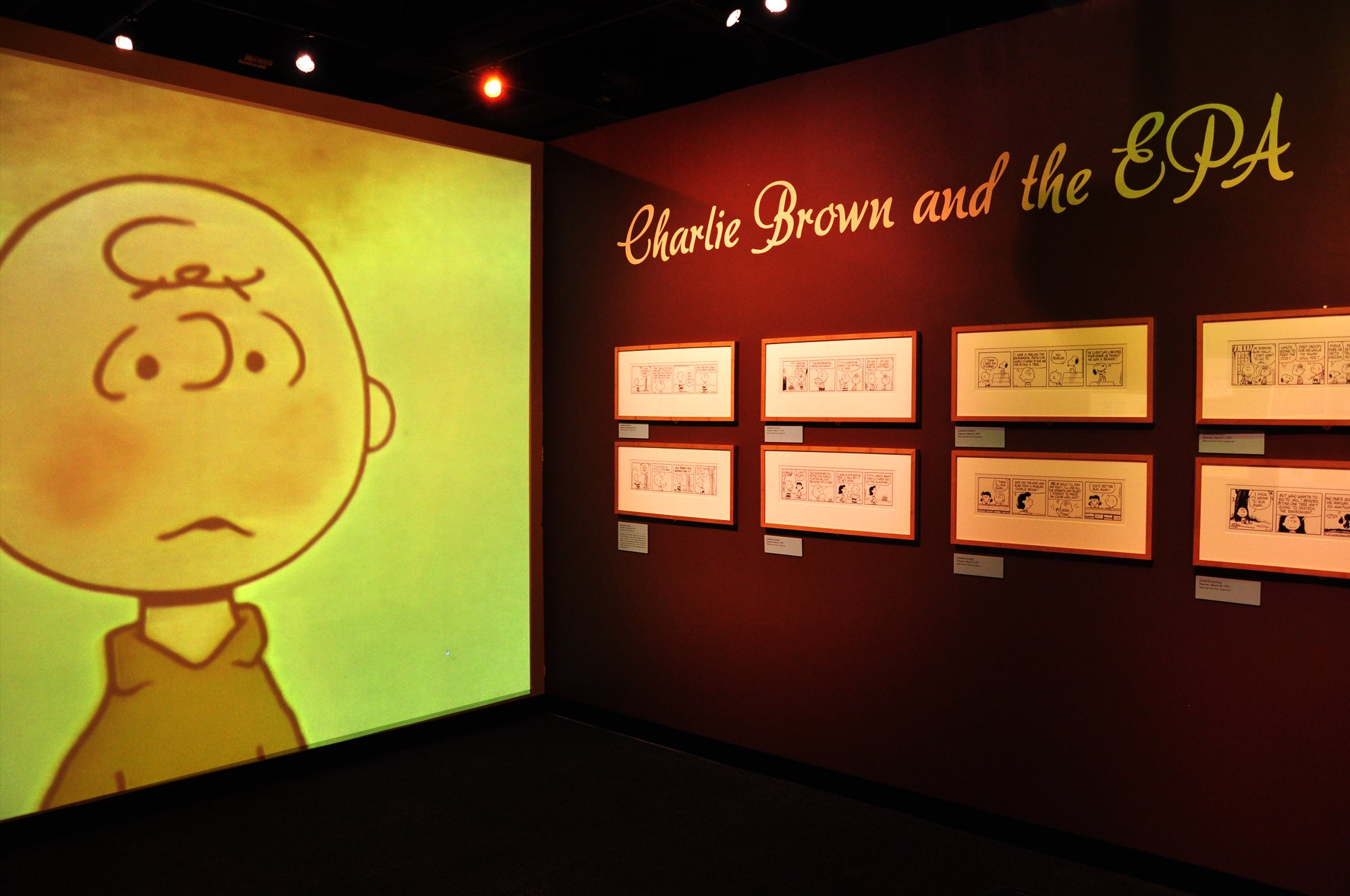 "The museum's exhibit features a screening of the animation ""Charlie Brown Clears the Air."" (Sean Keenehan)"