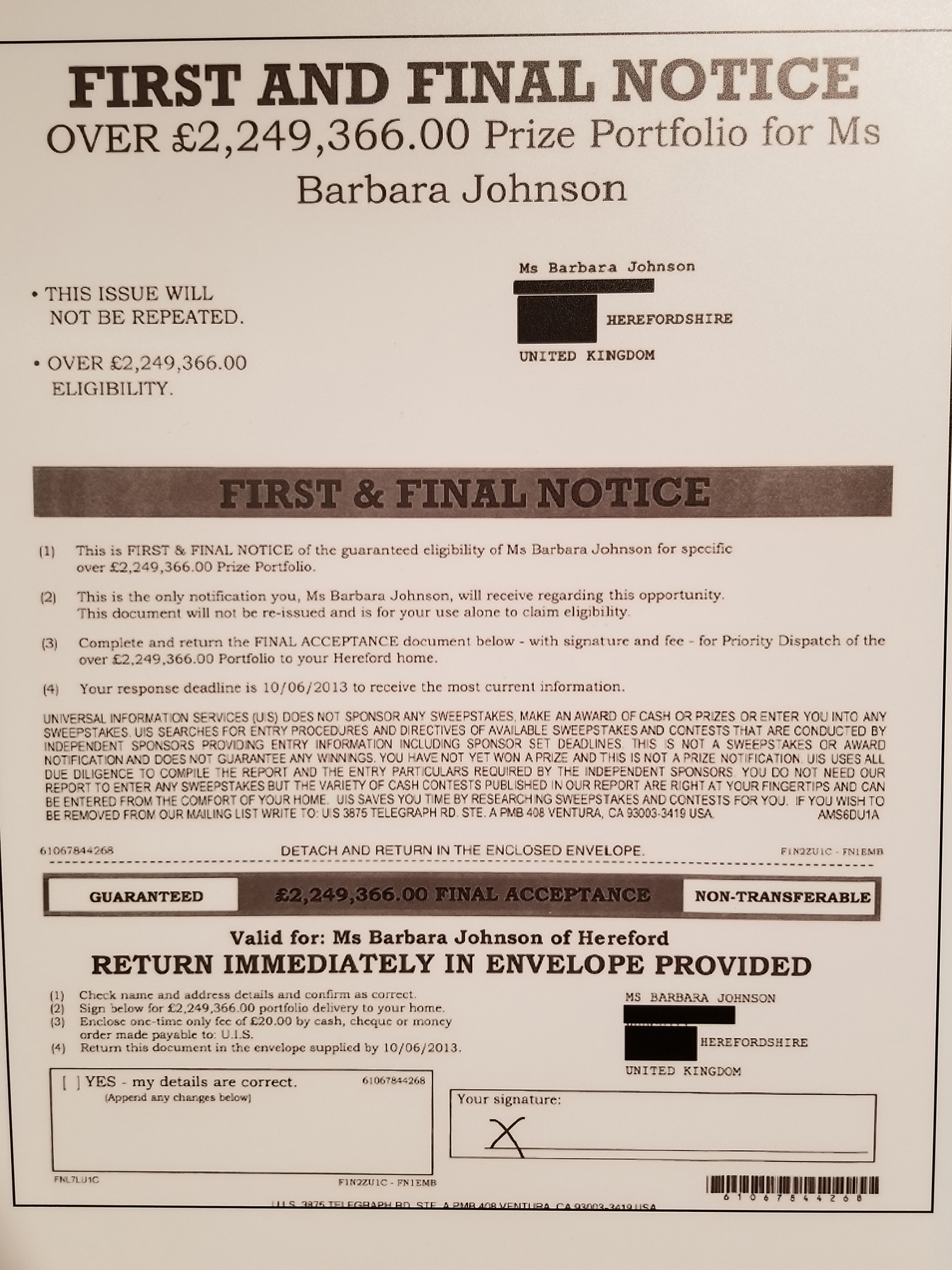 "A copy of a scam notice sent to a woman informing her she had ""won"" more than two million British pounds. (Matt Masterson / Chicago Tonight)"