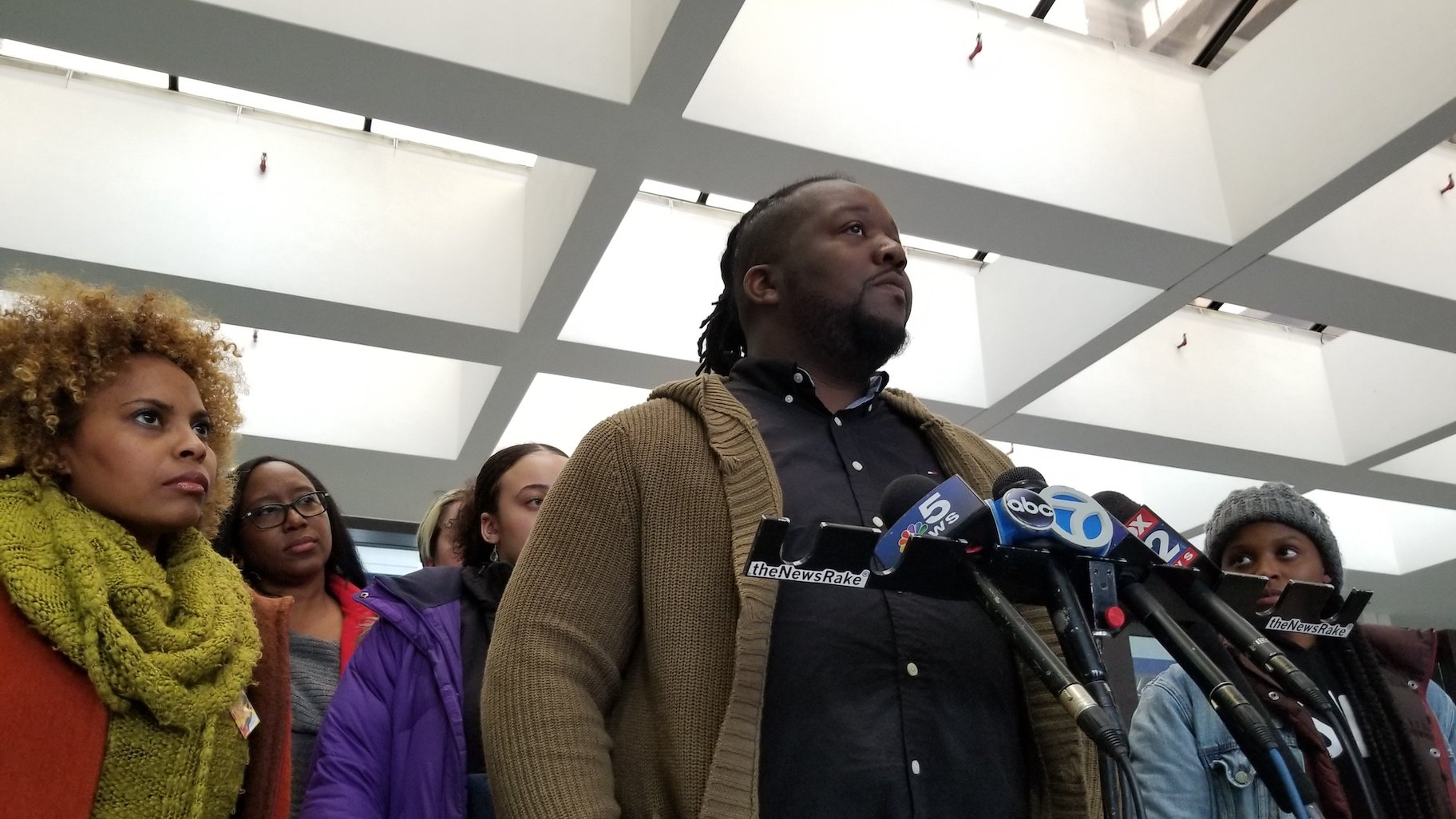Rekia Boyd's brother Martinez Sutton speaks with reporters following the hearing Tuesday, Nov. 19, 2019. (Matt Masterson / WTTW News)