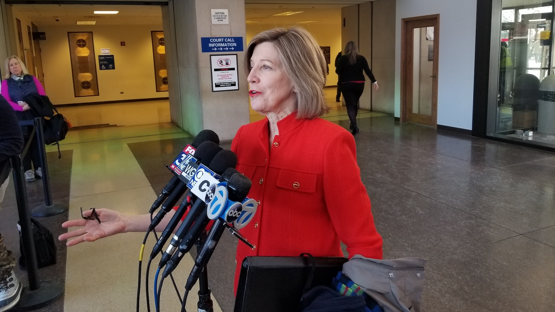 Retired appellate Judge Sheila O'Brien speaks to reporters inside the Leighton Criminal Court Building on Feb. 14, 2020. (Matt Masterson / WTTW News)