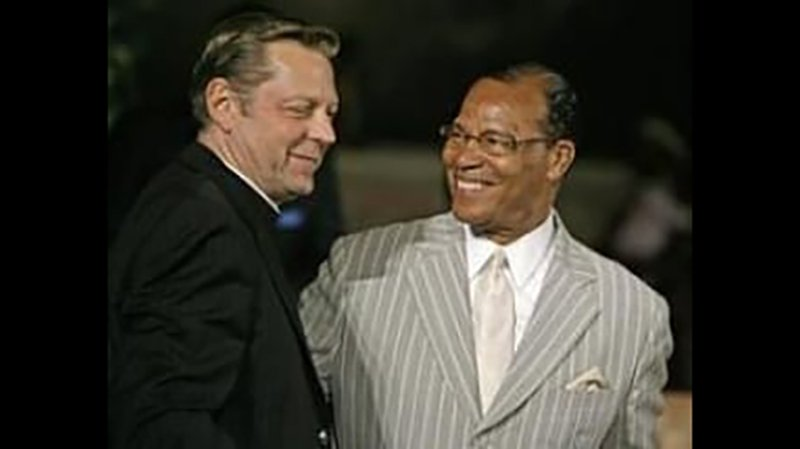 The Rev. Michael Pfleger (left) posted this undated photo of himself with Louis Farrakhan on his Facebook page. (Facebook)