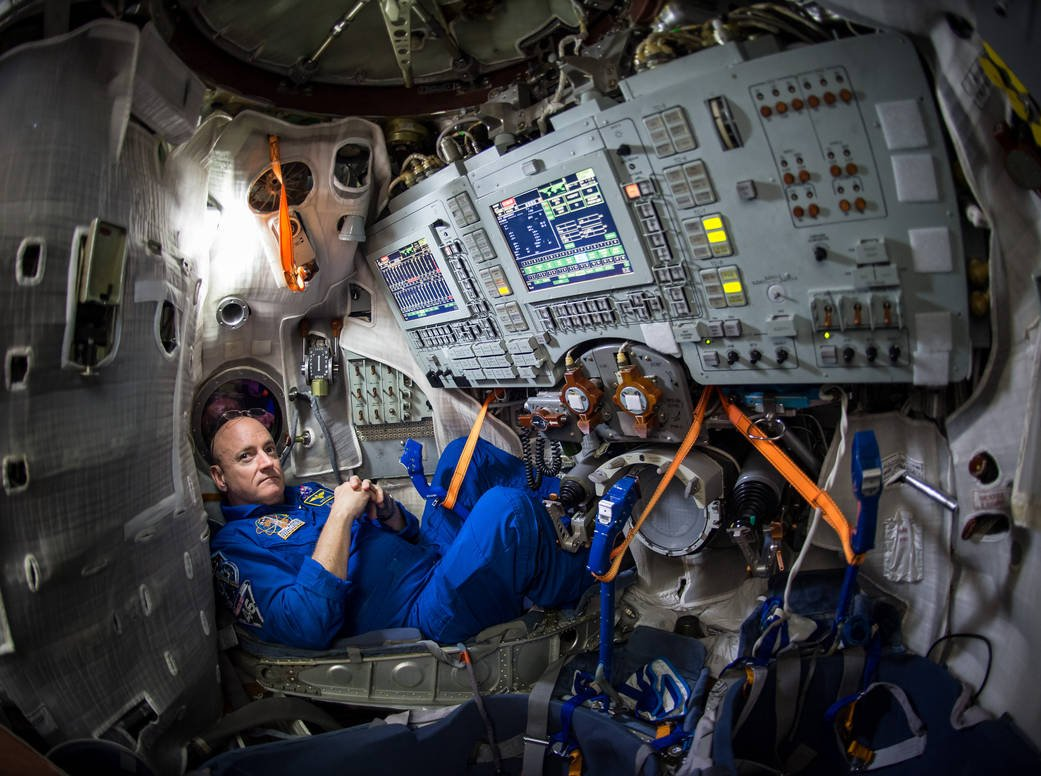 NASA astronaut Scott Kelly is seen inside a Soyuz simulator at the Gagarin Cosmonaut Training Center (GCTC), March 4, 2015 in Star City, Russia. (Courtesy NASA / Bill Ingalls)