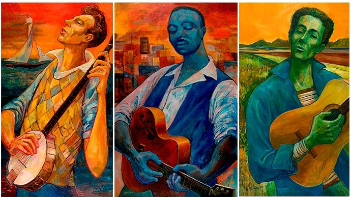Peggy Lipschutz's paintings of Pete Seeger, Big Bill Broonzy and Woody Guthrie.