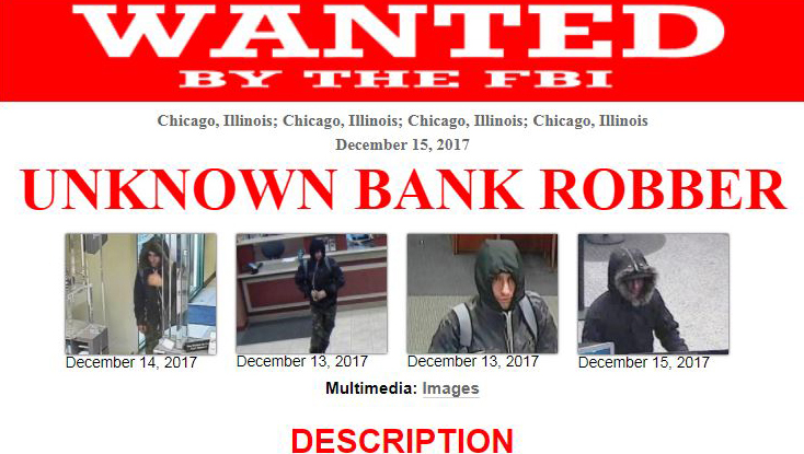 FBI flyer showing the suspect in three bank robberies and one attempted robbery last month. (FBI)