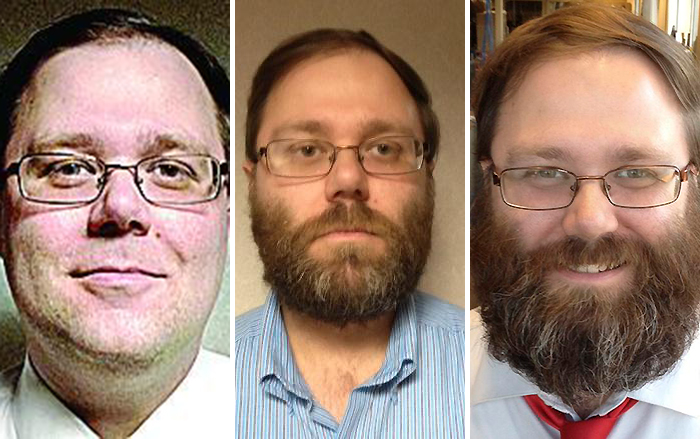 Tracking the #BudgetBeard: Chris Kaergard on June 1, July 16 and Sept. 25 (Courtesy of Peoria Journal Star)