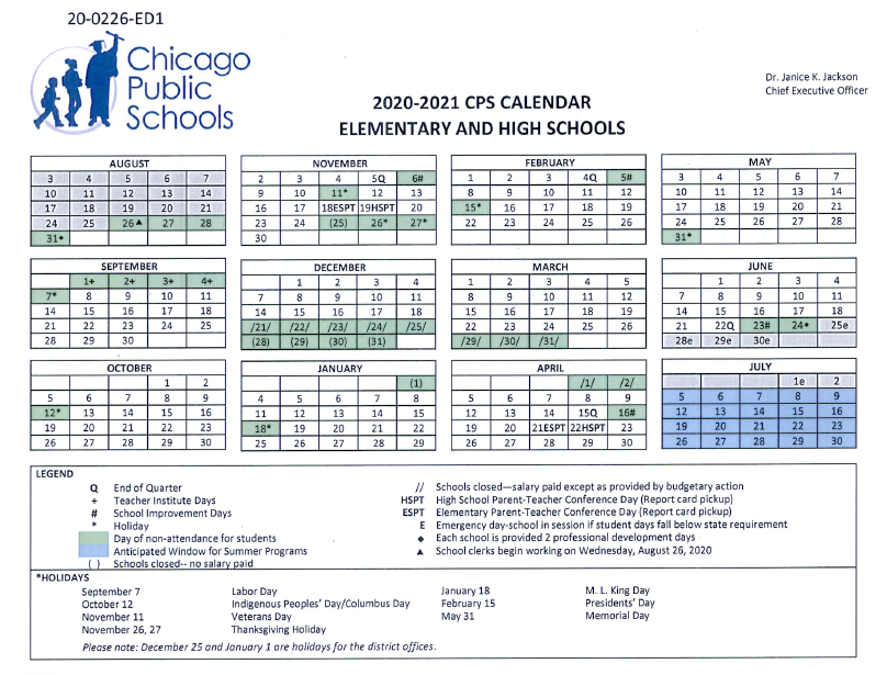 Proposed CPS Calendar for 2020 21 Has Students in School into Late