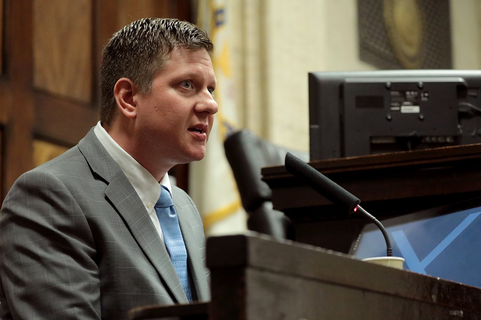 Chicago police Officer Jason Van Dyke takes the stand on Tuesday, Oct. 2, 2018. (Antonio Perez / Chicago Tribune / Pool)