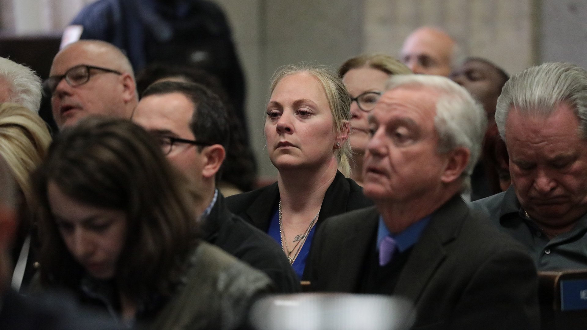 Tiffany Van Dyke, center, watches as verdicts are read in the murder trial of her husband, Chicago police Officer Jason Van Dyke, on Friday, Oct. 5, 2018. (Antonio Perez / Chicago Tribune / Pool)