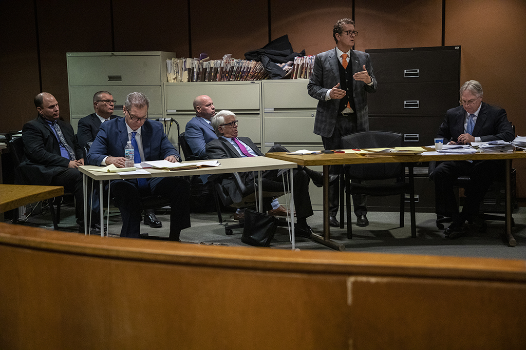 Seated at the front table, from left: Defense attorneys Will Fahy, Thomas Breen and James McKay inside the Leighton Criminal Court Building on Tuesday, Oct. 30, 2018. (Zbigniew Bzdak / Chicago Tribune / Pool)