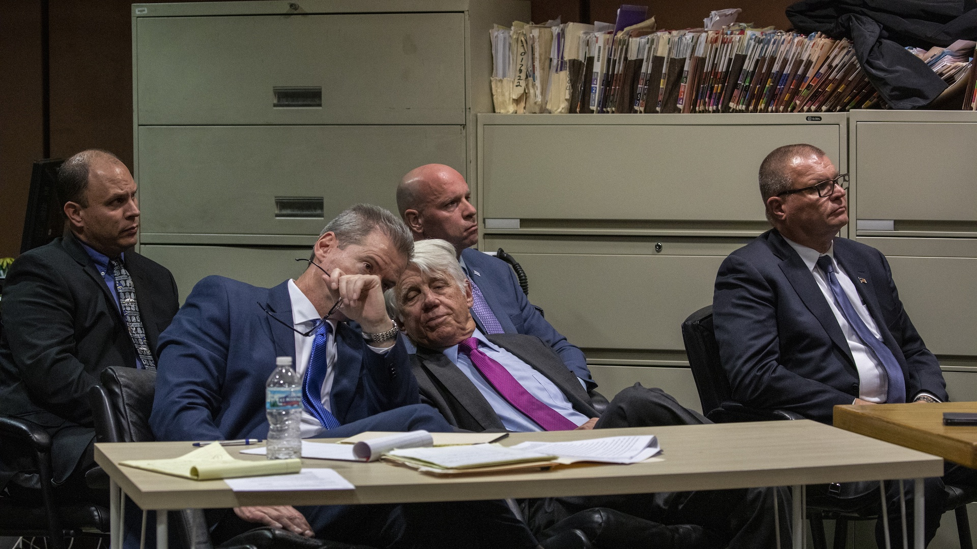 Back row, from left: Chicago police Officer Thomas Gaffney, ex-Officer Joseph Walsh and former Detective David March at a pretrial hearing on on Tuesday, Oct. 30, 2018. Seated in front are their attorneys, William Fahy, left, and Thomas Breen. (Zbigniew Bzdak / Chicago Tribune / Pool)