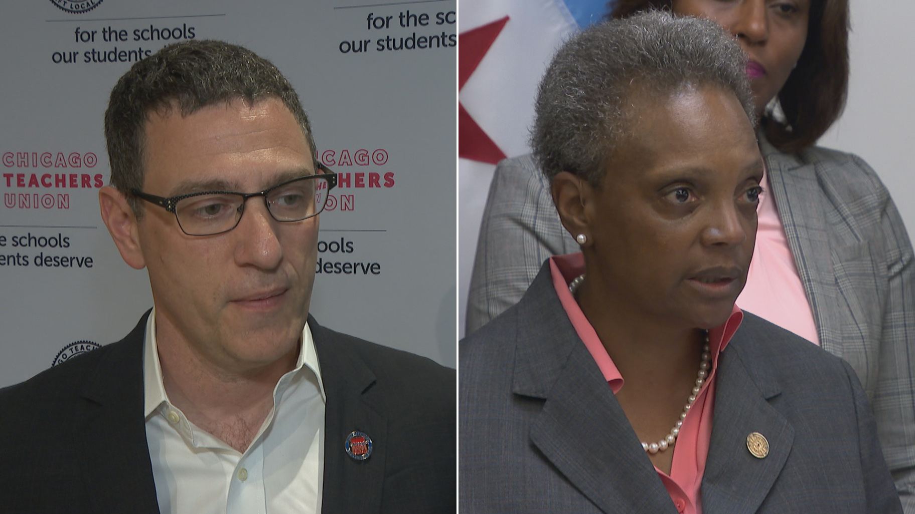 Chicago Teachers Union President Jesse Sharkey, left, and Chicago Mayor Lori Lightfoot speak about teacher contract negotiations on Monday, Aug. 26, 2019.