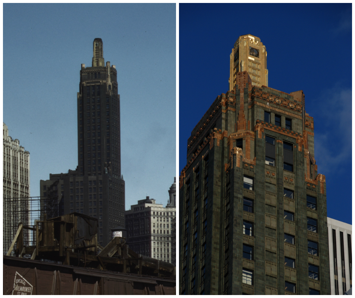 Left: Carbide and Carbon Building in 1943. Right: Carbide and Carbon Building in 2009.