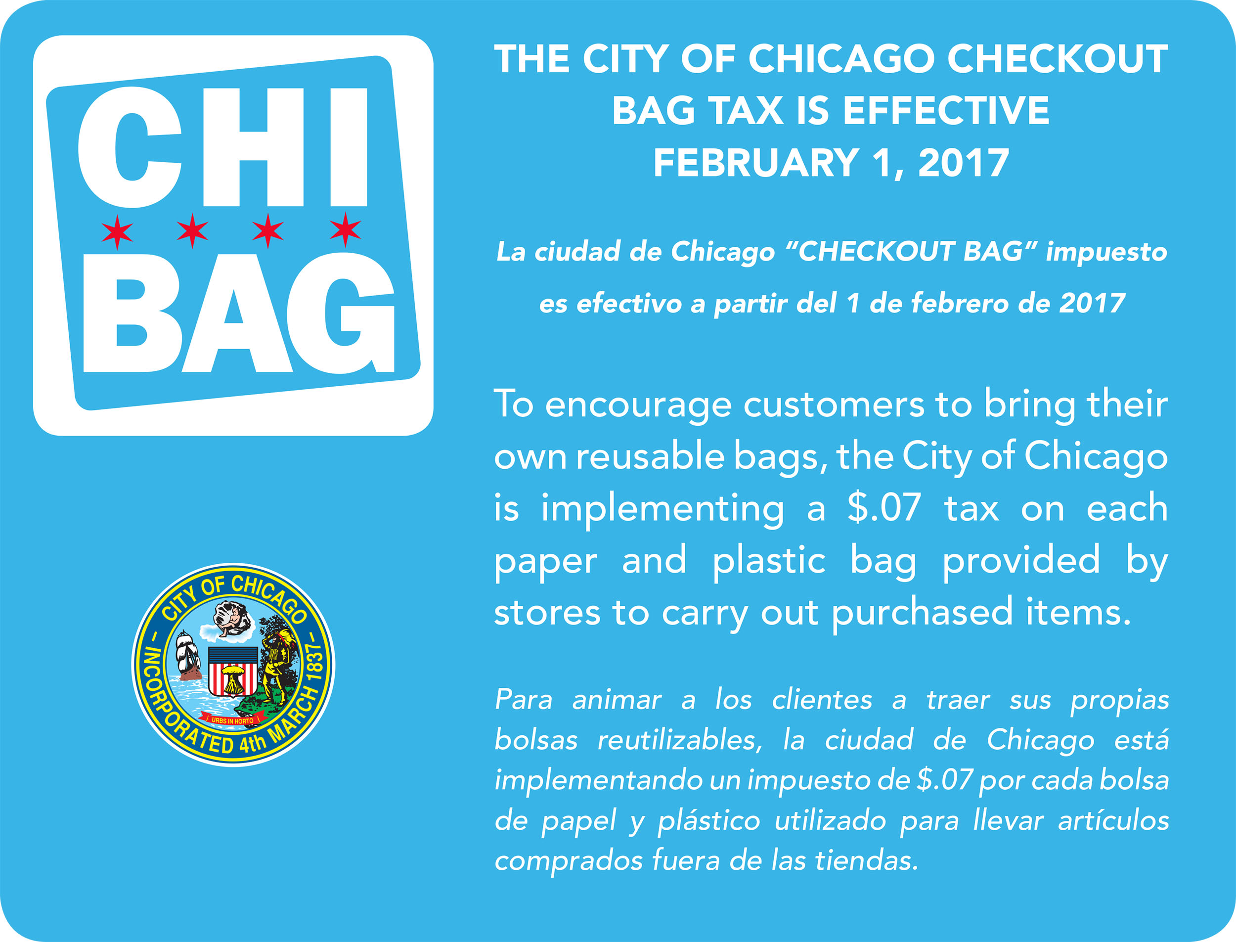 Plastic bag ban chicago - Click To Enlarge Image Of City Placard Detailing Checkout Bag Tax