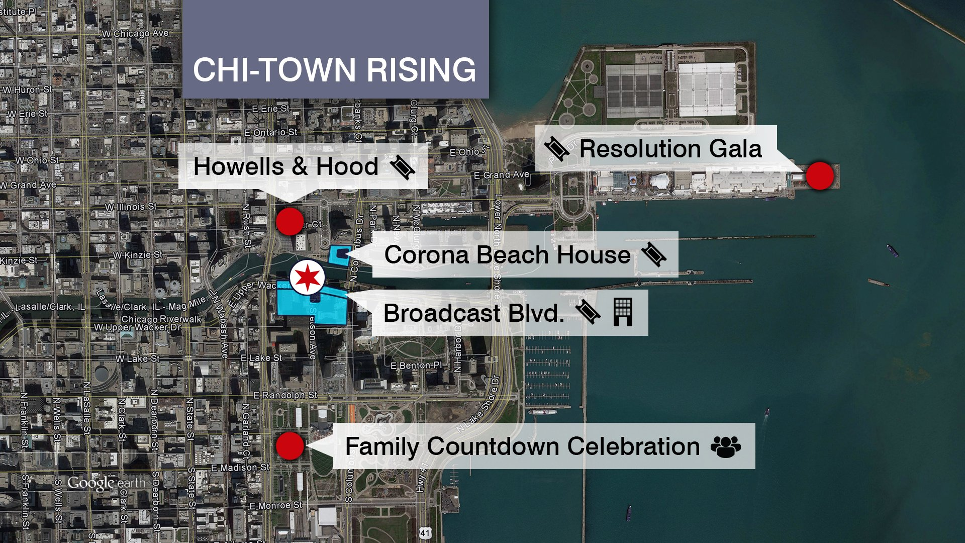 A map shows the locations of Chi-Town Rising events