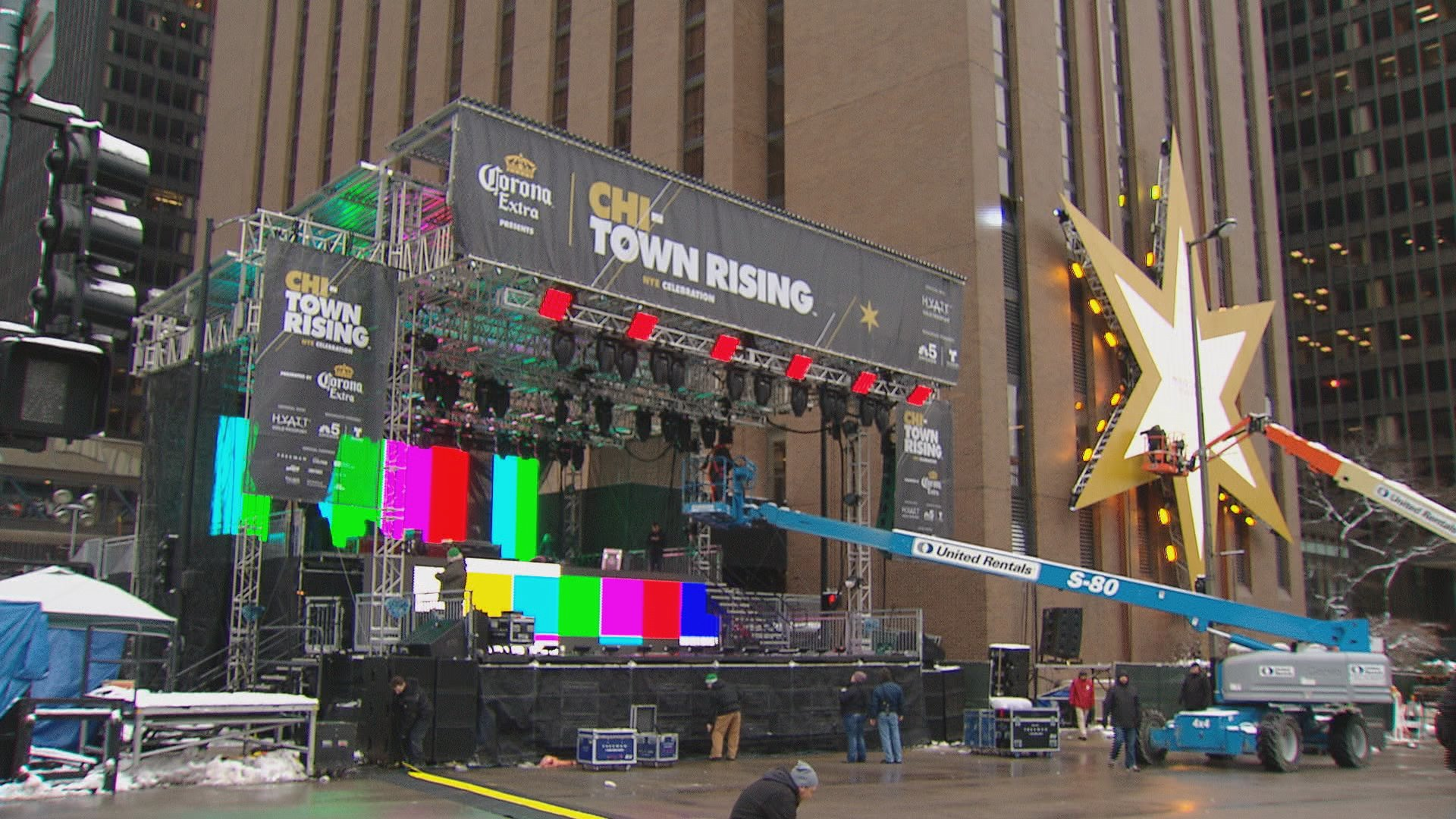 Crews set up the Chi-Town Rising Countdown Stage and Chicago star on Wednesday afternoon.
