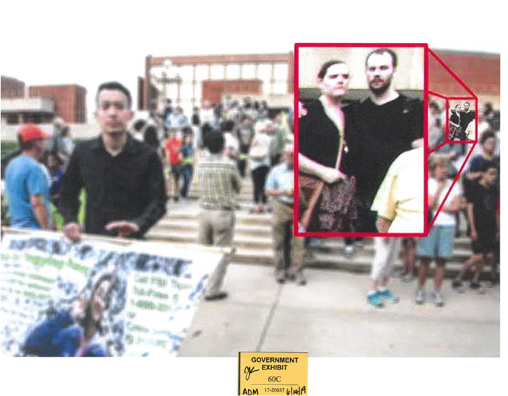 In a photo presented as evidence at trial, Brendt Christensen and his girlfriend were seen attending a memorial vigil for missing scholar Yingying Zhang in June 2017. (U.S. Attorney's Office)