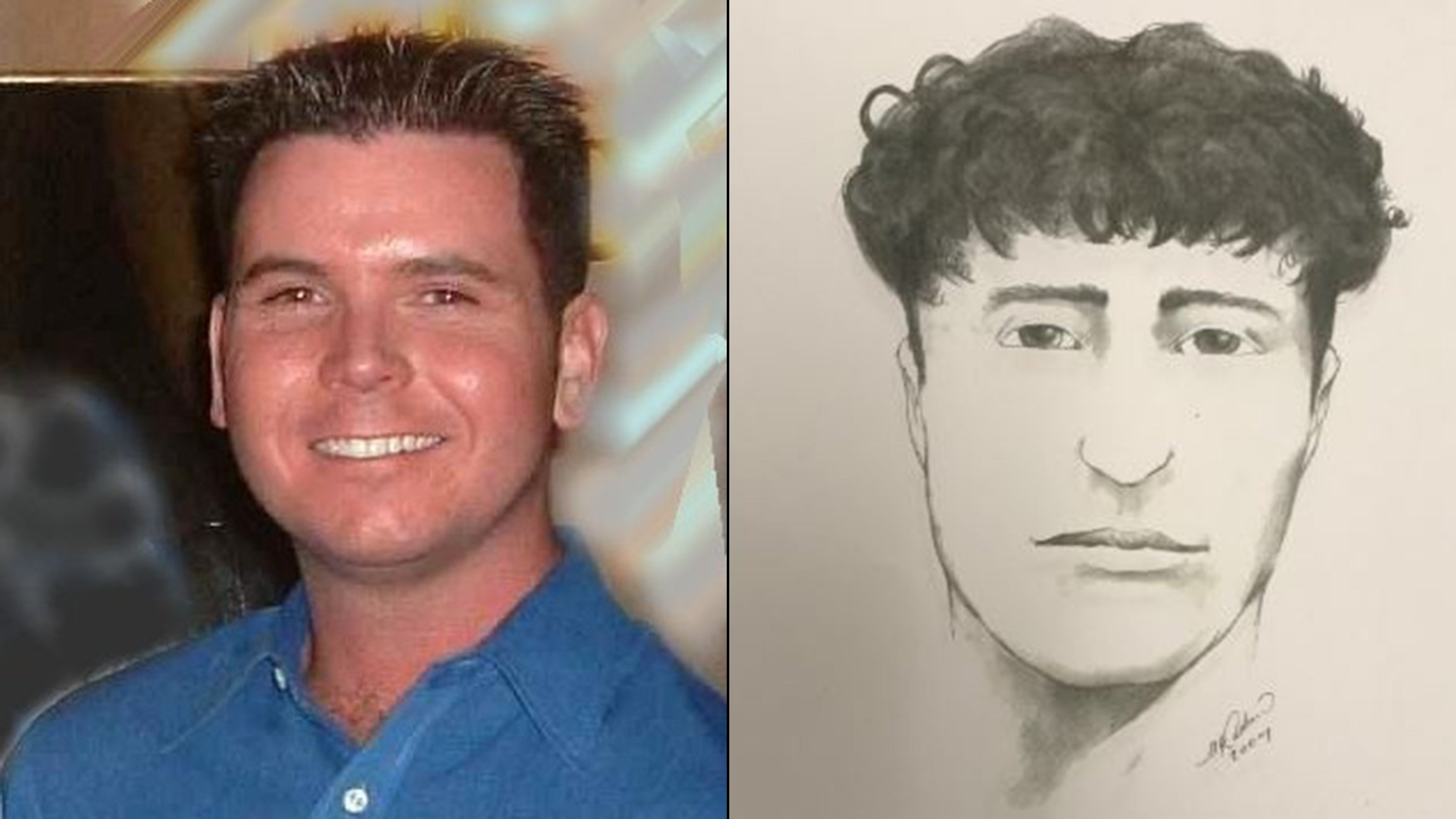 Kevin Clewer, left, was killed in 2004. Chicago police this week reissued a sketch of a person of interest in the case. (Photos courtesy Ron Clewer, Chicago Police Department)