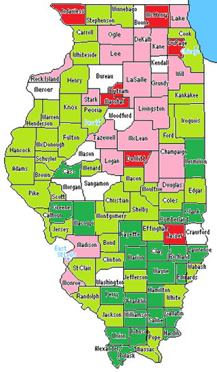 Here's a map illustrating how the cost shift proposal would impact counties. Those colored green would see more school funding under this plan, and those colored red would lose money. Click for a larger image.