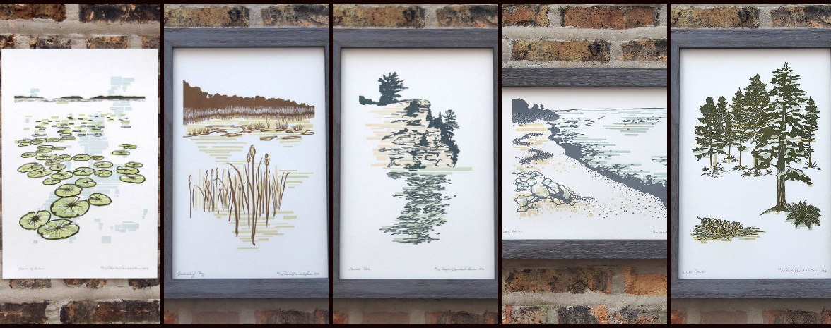 Raschle Steinbach's series of art prints, inspired by Illinois state parks. (Current Location Press / Facebook)