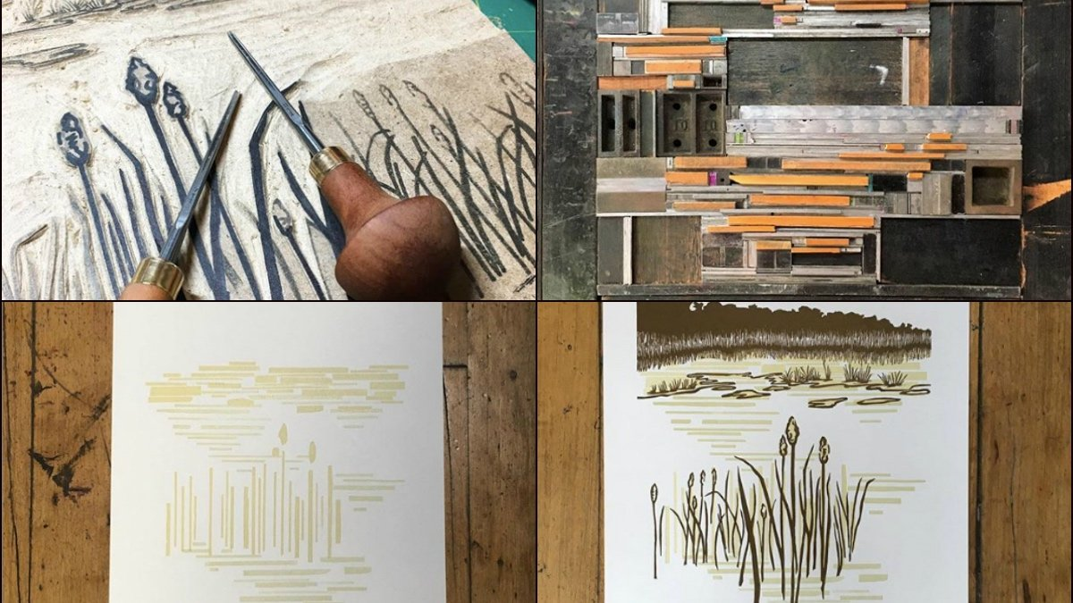Rachel Steinbach's process includes: carving an image into linoleum and creating background layers by forming wood bits into patterns. Each print requires multiple runs on the press to achieve the final result. (Current Location Press / Facebook)