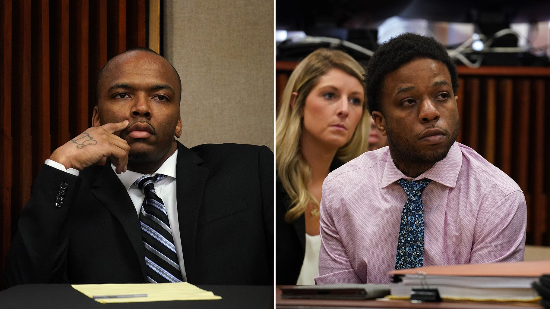 Dwright Boone-Doty, left, and Corey Morgan appear during opening statements in the murder trial of 9-year-old Tyshawn Lee at the Leighton Criminal Court building in Chicago on Tuesday, Sept. 17, 2019. (E. Jason Wambsgans / Chicago Tribune / pool)