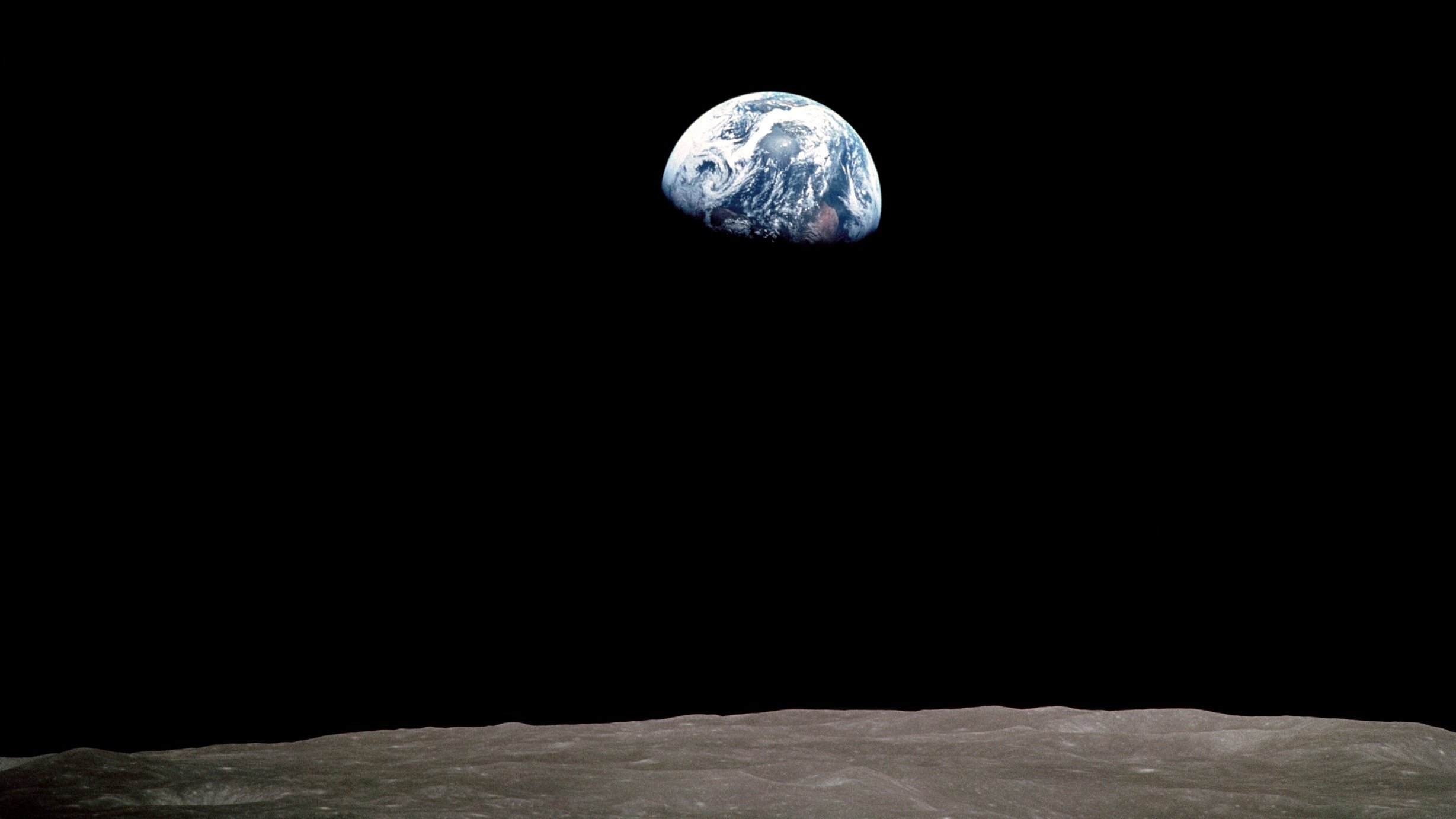 Apollo 8 astronaut Bill Anders' photograph of the first earthrise witnessed by humans. (NASA)