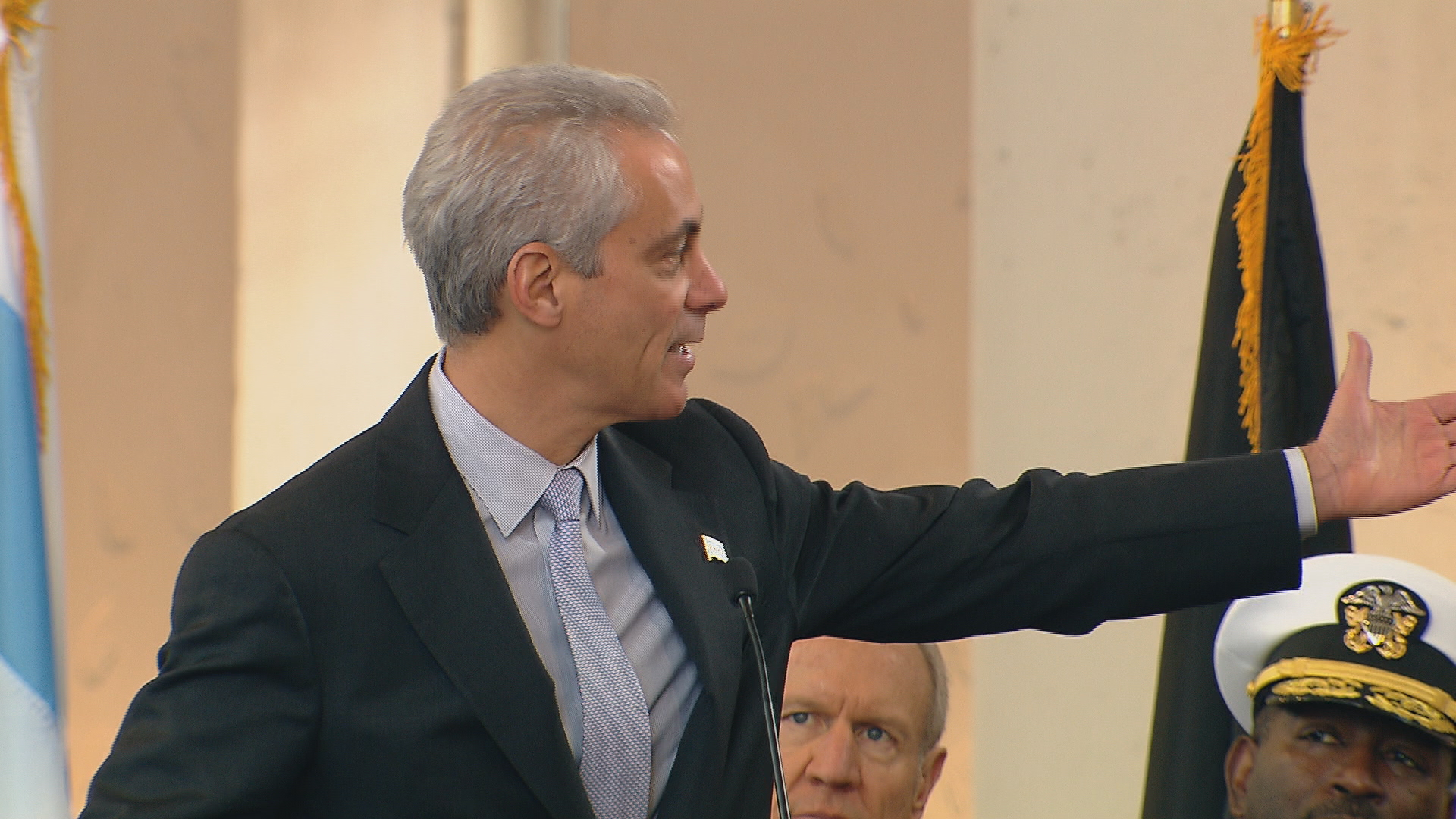 Mayor Rahm Emanuel announces increased CHA help for veterans at Wednesday's Veteran's Day ceremony at Soldier Field.