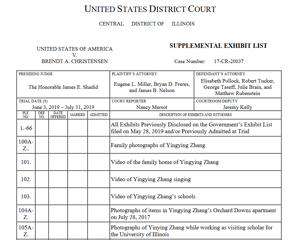 A portion of the U.S. Attorney's exhibit list filed on June 26, which includes the video evidence they plan to present at sentencing.