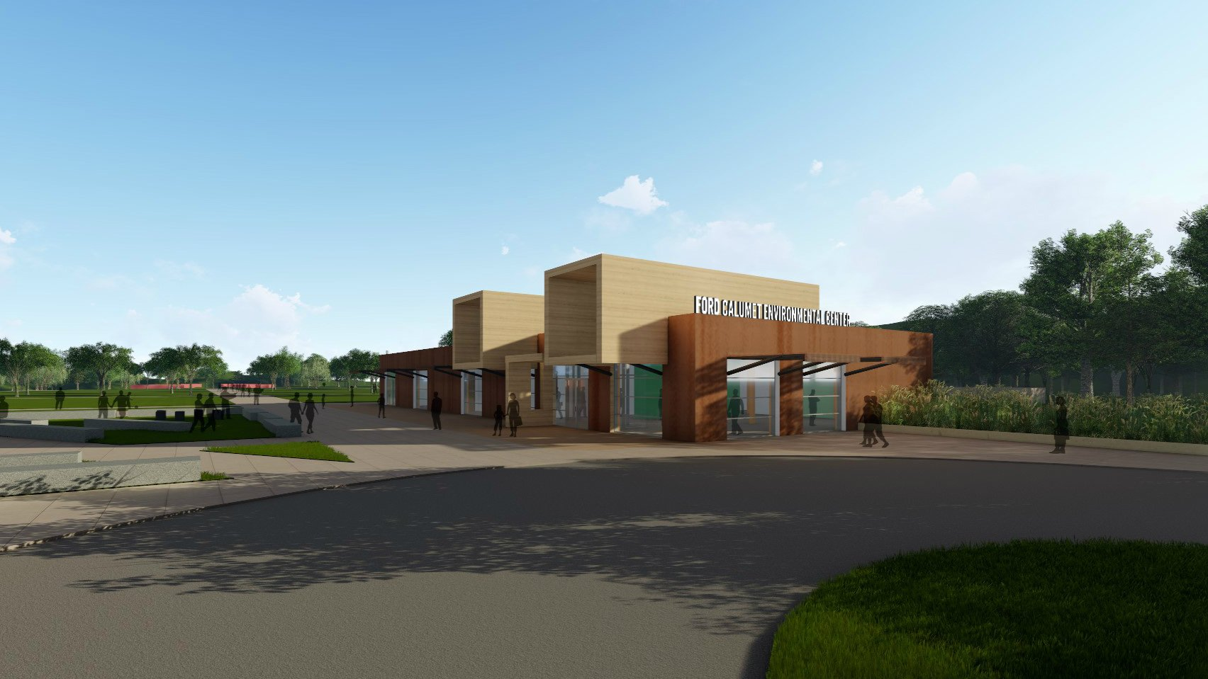 A rendering of the Ford Calumet Environmental Center, set to open in late spring or early summer. (Facebook / Ford Calumet Environmental Center)
