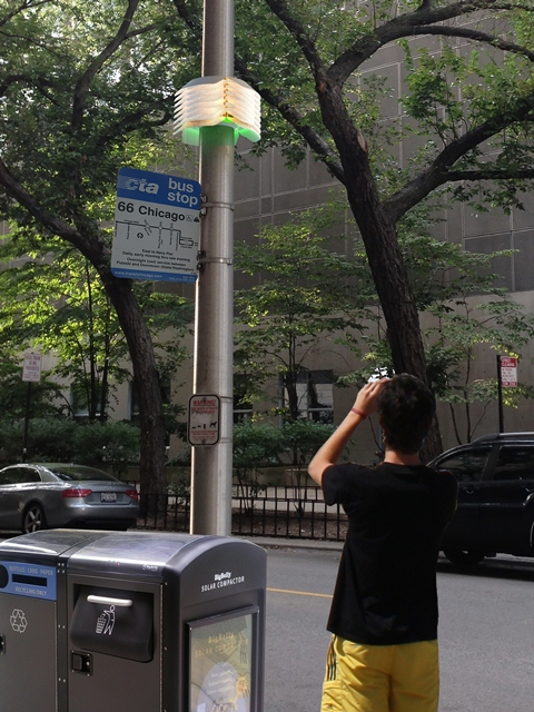 A prototype of a future node, designed by the SAIC, wrapped around a utility pole