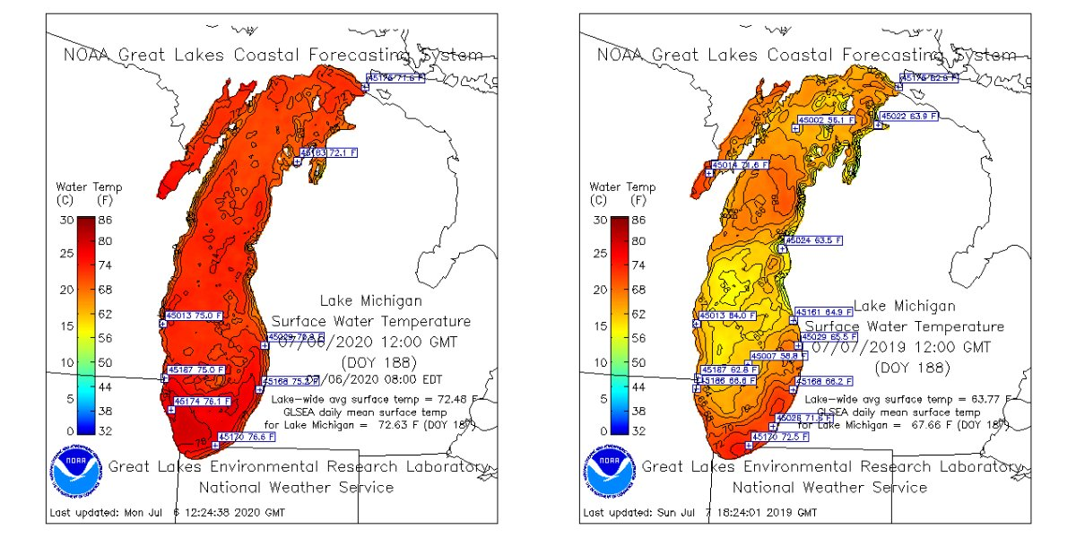 Lake Michigan surface temperatures in July 2020, left, and 2019, right. (Great Lakes Environmental Research Laboratory)