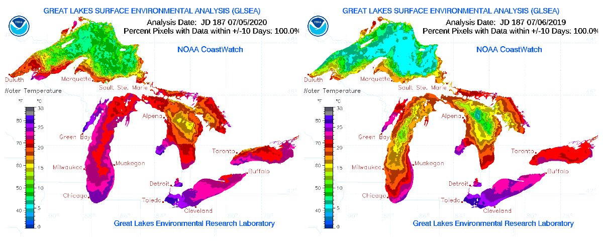Great Lakes surface temperatures July 2020, left, and 2019, right. (Great Lakes Environmental Research Laboratory)