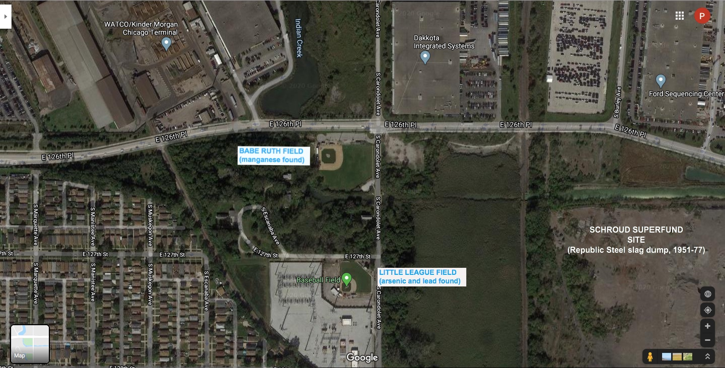 A satellite view of the Hegewisch Babe Ruth and Little League fields, the Watco site to the north and the superfund site to the east. (Google Maps)