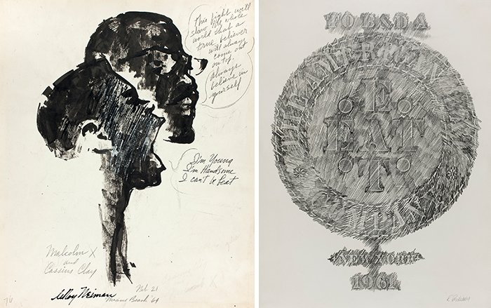 Left: LeRoy Neiman. Malcolm X and Cassius Clay, 1964. Right: Robert Indiana. American Eat Co., 1961. (Courtesy of The Art Institute of Chicago)