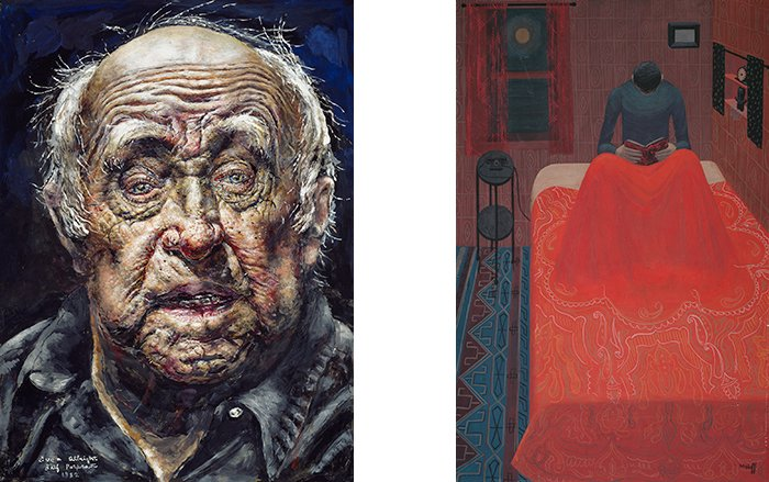 Left: Ivan Albright. Self-Portrait (No.13), 1982. Right: Margo Hoff. Murder Mystery, 1945. (Courtesy of The Art Institute of Chicago)