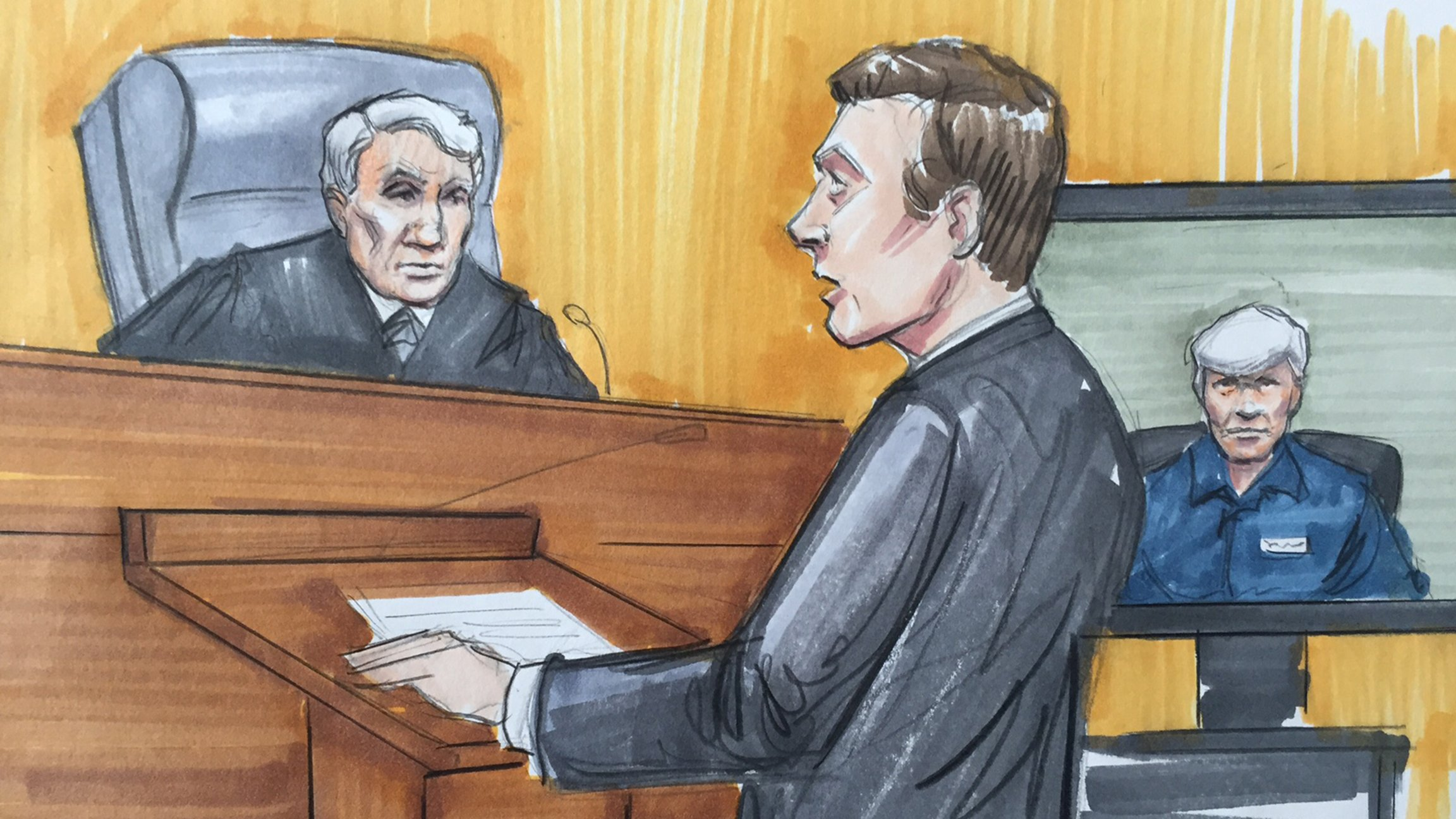 Rod Blagojevich, right, sits during a 2016 appellate court hearing. (Courtroom art by Thomas Gianni)