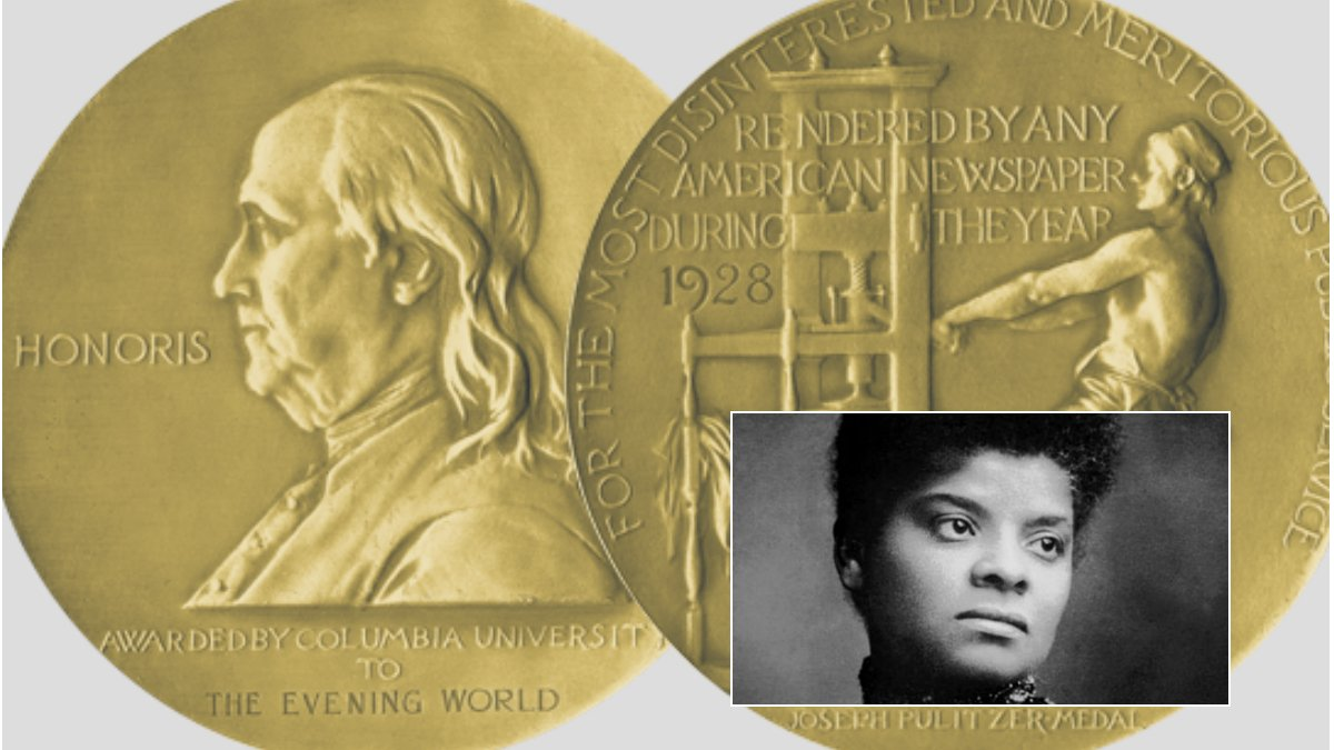 Pioneering journalist Ida B. Wells was awarded a posthumous Pulitzer Prize special citation in 2020. (Pulitzer Prize; inset, Wikimedia Commons)