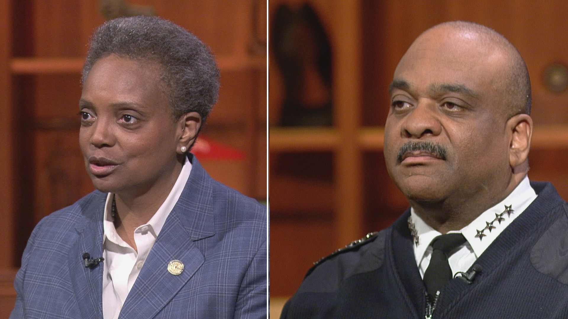 "Still images from appearances of Mayor Lori Lightfoot and Chicago Police Superintendent Eddie Johnson on ""Chicago Tonight."" Lightfoot spoke to reporters Wednesday about Johnson's possible retirement this week. (WTTW News)"