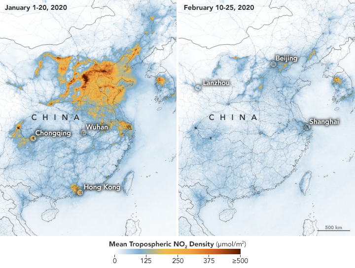 NASA Space Images Show Chinese Pollution Drop Thanks to the Coronavirus Outbreak