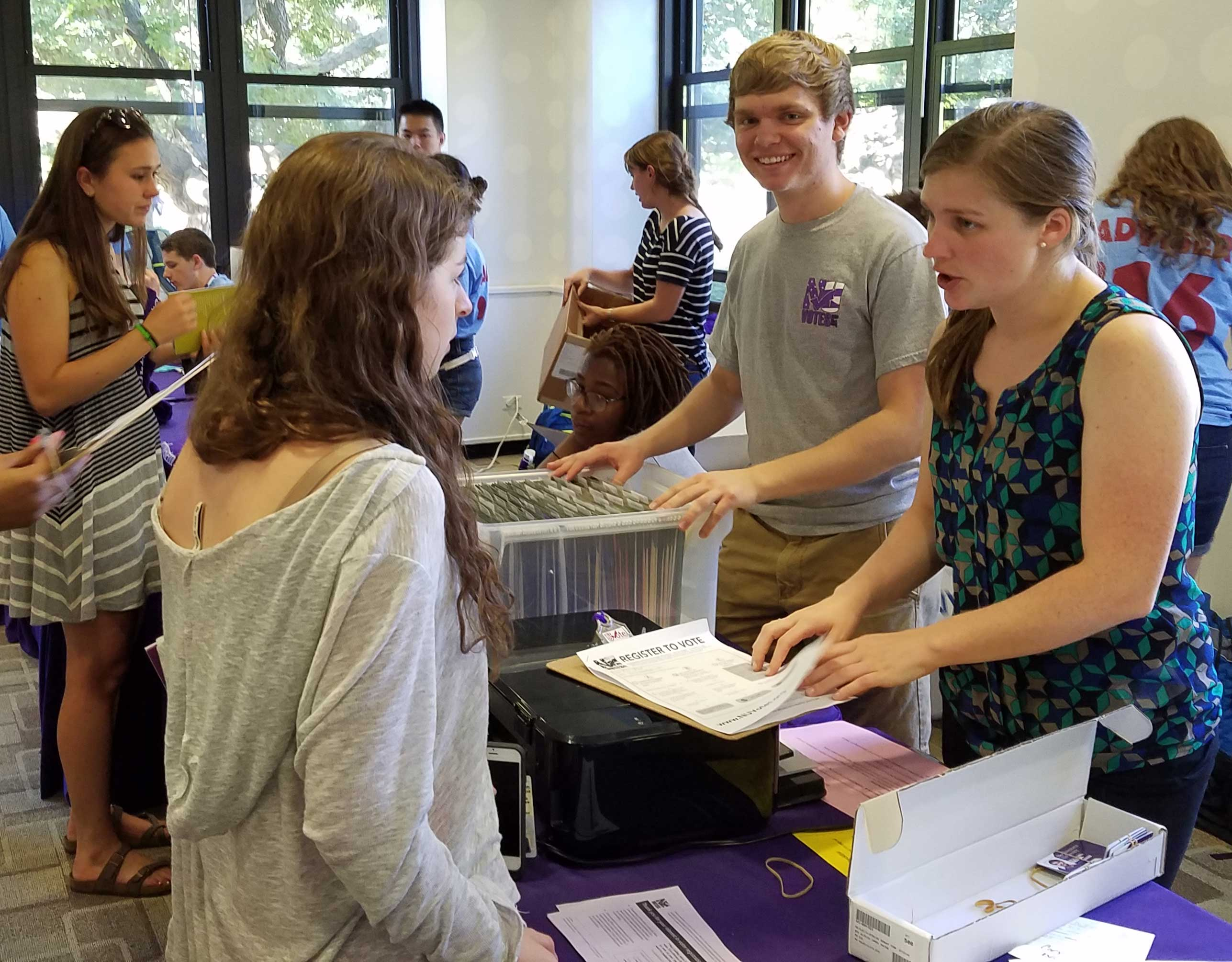 A student registers to vote at Northwestern University during orientation week. This year, 96 percent of incoming freshman have registered. (Courtesy of Robert Donahue)