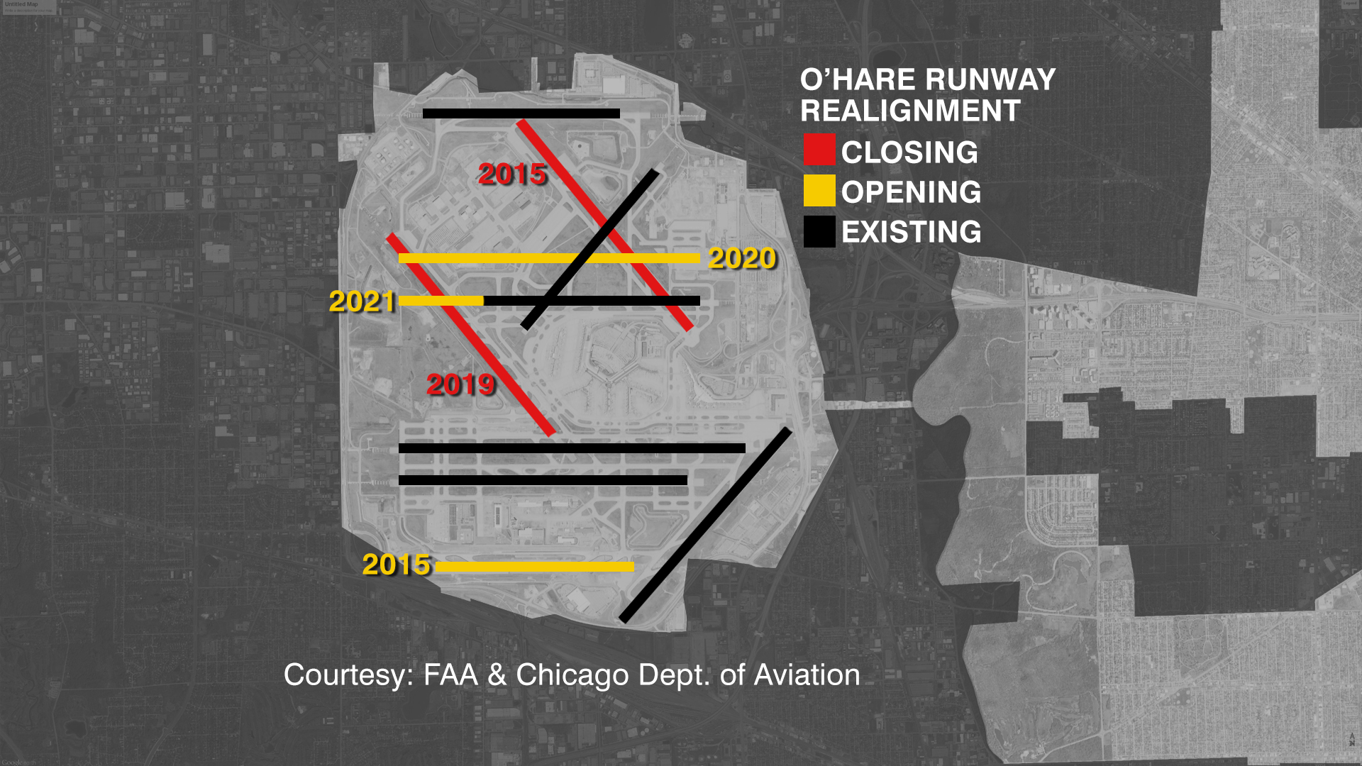 Map shows changes coming to O'Hare runways.