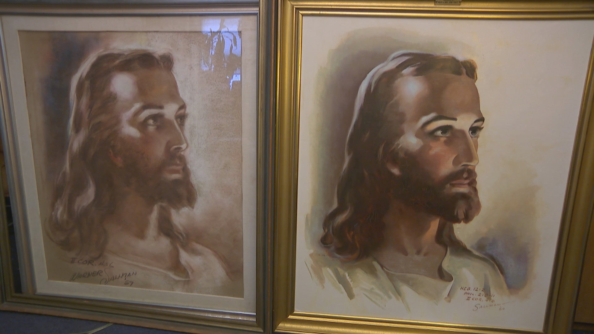 "Two original versions of Warner Sallman's ""Head of Christ"" found in a local Salvation Army."