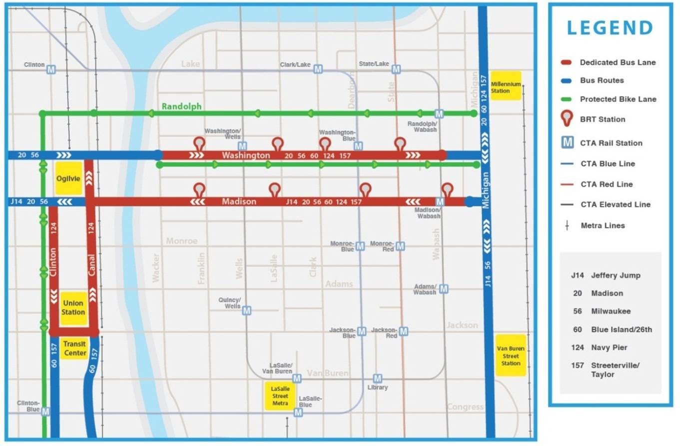 Loop Link map (Courtesy Chicago Department of Transportation)