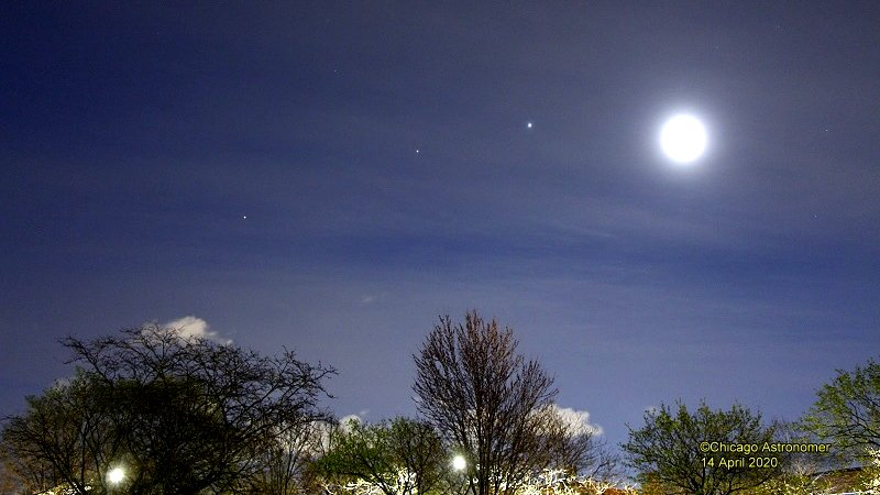 "On Tuesday morning, the moon appeared at the far ""right"" of a Mars-Saturn-Jupiter string. (Photo by Joe Guzman)"