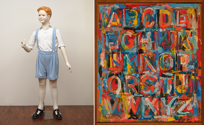Left: Charles Ray. Boy, 1992. Right: Jasper Johns. Alphabet, 1959. (The Art Institute of Chicago, Gift of Edlis/Neeson Collection.)