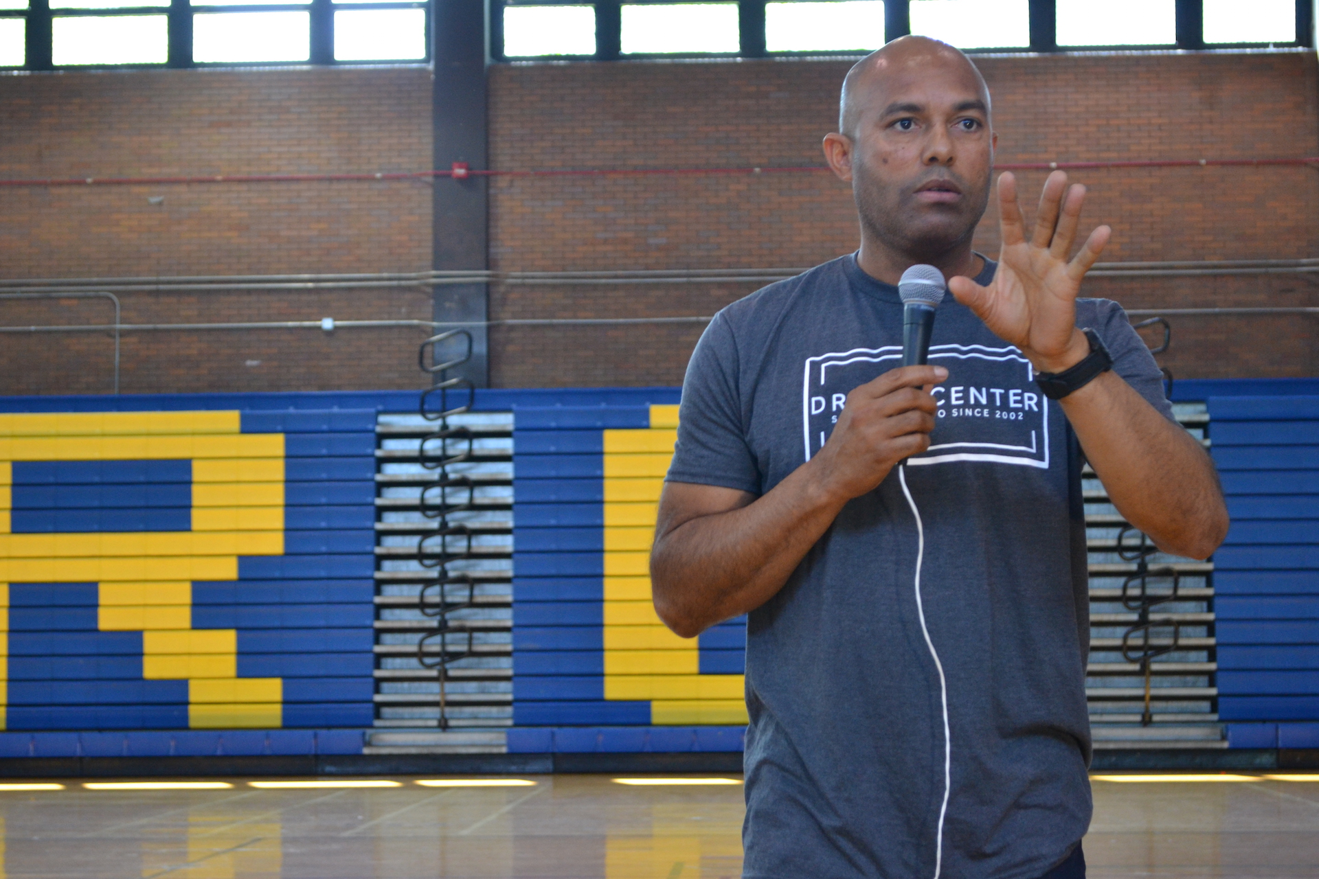 Former New York Yankees closer Mariano Rivera spent more than an hour Tuesday talking with CPS students at Clemente High School. (Matt Masterson / Chicago Tonight)