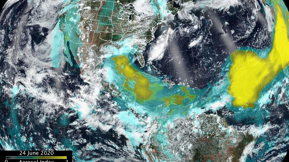 Satellite image of the Godzilla dust cloud. (NASA)