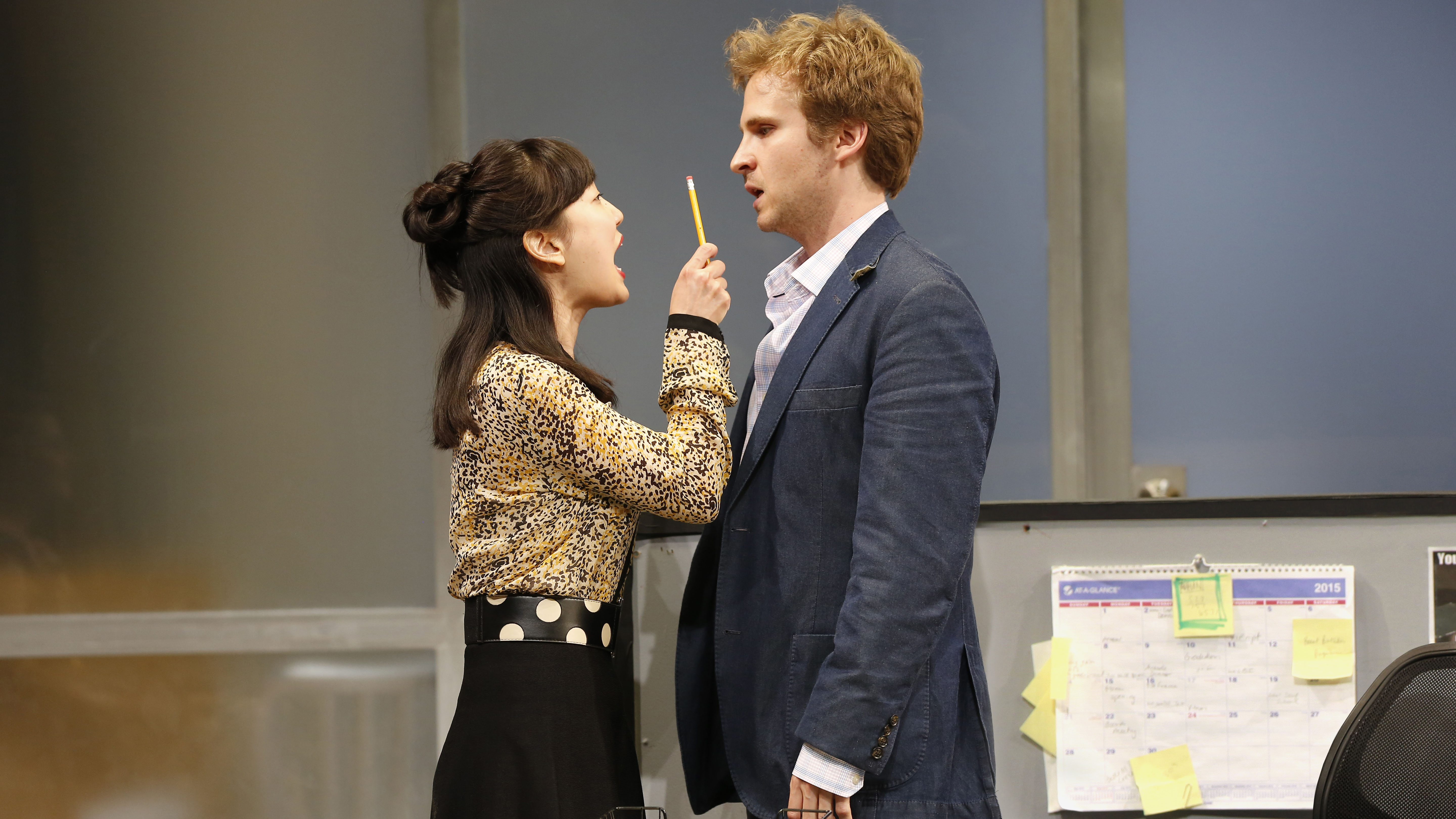 "Jennifer Kim and Ryan Spahn in ""Gloria."" (Carol Rosegg / Goodman Theatre)"