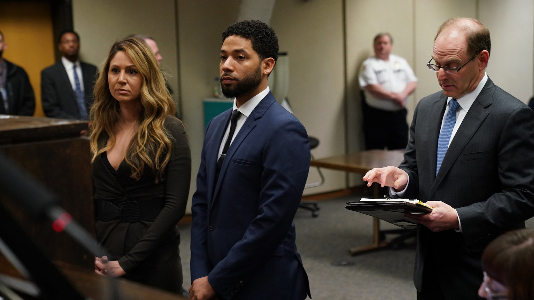 Jussie Smollett appears at a hearing for judge assignment with his attorney Tina Glandian, left, at the Leighton Criminal Court Building on Thursday, March 14, 2019. (E. Jason Wambsgans / Pool / Chicago Tribune)