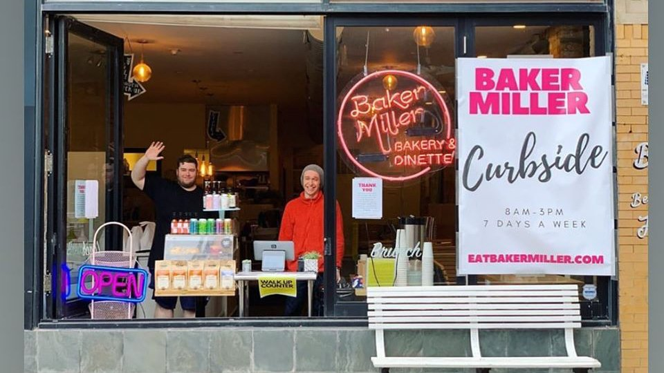 Baker Miller cafe in Lincoln Square, which reconfigured its operations to create a walk-up window, is among those now displaying a Snappy sign. (Courtesy of Baker Miller)